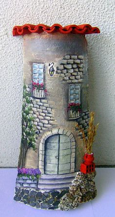 Decore sua casa com telhas customizadas, é fácil de fazer. Clay Fairy House, Fairy Houses, Rock Crafts, Diy And Crafts, Clay Fairies, Clay Houses, House On The Rock, Tole Painting, Mural Art