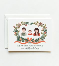 CUSTOM ILLUSTRATED Holiday Christmas Cards- the cutest.
