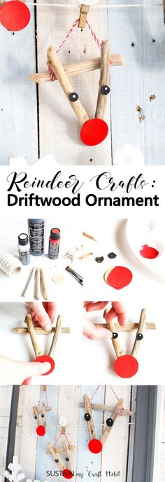 Adorable reindeer crafts! DIY reindeer ornaments made with driftwood. Easy #ChristmasCraft idea as part of the Remodelaholic #CreativeChristmas challenge. Includes #videotutorial!