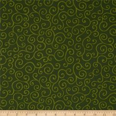 Christmas Pure & Simple Scrolls Hunter from @fabricdotcom  Designed by Nancy Halvorsen for Benartex, this cotton print is perfect for quilting, apparel and home decor accents.  Colors include shades of green.
