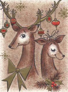 vintage Hallmark Christmas card reindeer