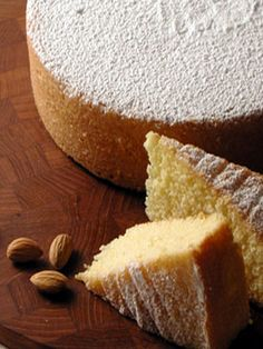 Giada De Laurentiis  almond cake.  Her recipe is online or in her cookbook Everyday Italian.  Just baked it this past weekend and it was so good!  Nice and fluffy and moist