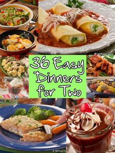 Looking for an easy dinner recipe you can cook up for two? Sick of having so man… Looking for an easy dinner recipe you can cook up for two? Sick of having so many leftovers? Then youll love our collection of 36 Easy Dinner Recipes for Two! Easy Dinners For Two, Meals For Two, Easy Meals, Easy One Person Meals, Small Meals, Healthy Dinner Recipes, Cooking Recipes, Cooking Tips, Easy Recipes