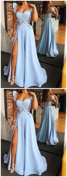 DESCRIPTION 2018 Sexy A-LINE Prom Dress Slit Blue Long Evening Dresses Chiffon Formal Gown Prom Gown,Cheap Prom Dress,Evening Gowns This dress could be custom made, there are no extra cost to do custom size and color. Straps Prom Dresses, A Line Prom Dresses, Beautiful Prom Dresses, Elegant Dresses, Party Dresses, Dress Party, Junior Prom Dresses, Wedding Dresses, Cheap Formal Gowns