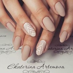 Matte nude & white lace nail art