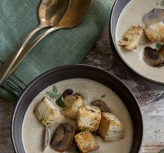 Gluten-Free Creamed Mushroom Soup with Toasted Herb Croutons