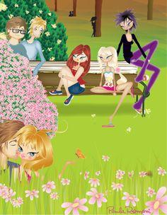 Kids in the park in spring
