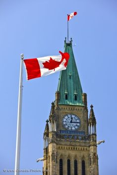 The Peace Tower Clock, Parliament Hill, Ottawa, Canada.