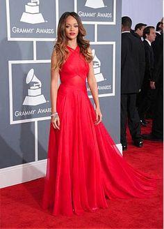 Rihanna Silk-like Chiffon A-line Prom Dress Grammys 2013 Red Carpet Gown