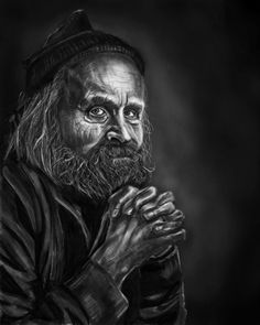 At Age. Digital painting. #digital #painting #drawing #sketch #illustration #poster #art #photo #realism #portrait #photoshop #wacom #old #man #homeless #roofless #greyhead #greybeard #sad #social #wrimpels #read #dirty #sweater #long #hear #beard #hat #blue #wolen #wize #eyes #old #monochrome #monochromatic #white #black #grisaille
