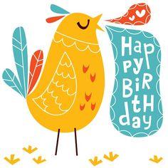 Birdy Birthday greeting card