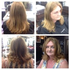 22.04.2015 - before and after one length cut with forward graduation and over directed layers. I then finished with a round brush blowdry and velcro rollers.