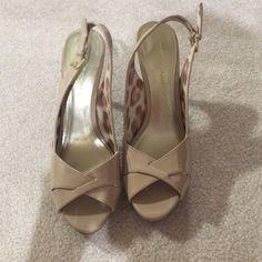 "Tan open toe platform heels. Tan open toe platform heels. It has a approximately 5"" heel. Christian Siriano Shoes Heels"