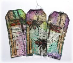 Mixed Media Tags with Art Anthology and Rubber Dance