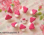 Pink Mushroom Buttons - Mushroom Shank Button - 15mm Buttons-https://www.etsy.com/shop/NamiSupplies