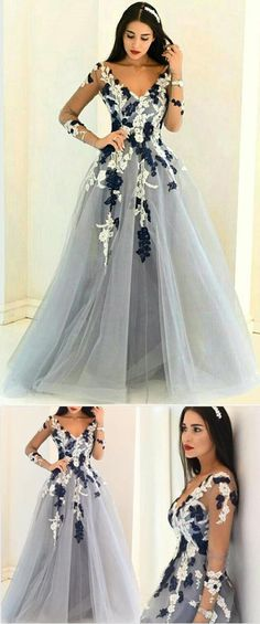 Gray Organza V Neck Prom Gown,A-line Long Prom Dresses,Formal Dresses,Prom Dresses #graydress #promdress #formaldress #Vneckdress #Alinedress #gowndress #organzadress