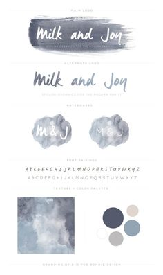 organic, soft watercolor logo design for Milk & Joy Organics via b is for bonnie design