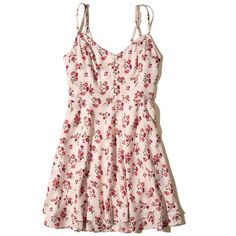 Hollister Button-Front Tiered Dress (94 BRL) ❤ liked on Polyvore featuring dresses, light pink print, strappy dress, fitted tops, flared skirt, circle skirt and print skater skirt
