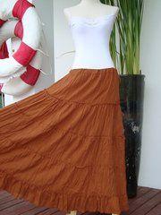 6347ac657b H24 Aerial Bohemian Pumkin Orange Women Long Cotton Tiered Maxi Skirt