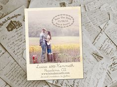 "Wedding Save The Date Magnets - HeathrowPark Rustic Photo Personalized 4.25""x5.5"""