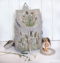 """Купить Льняной рюкзак  """"Летний луг"""" - рюкзак, подарок девушке, вышивка ручная, льняной рюкзак"""
