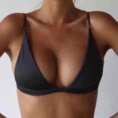 Push-Up Rembourré Bikini Top Bandeau Maillot de Bain Vêtements Noir