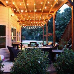 Easy DIY Patio Lighting projects you can do for your backyard spaces Backyard Lighting, Patio Lighting, Exterior Lighting, Lighting Ideas, Lighting Design, Outdoor Landscaping, Outdoor Gardens, Pergola Designs, Diy Patio