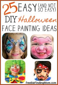 25 Easy (and Not So Easy) DIY Halloween Face Painting Ideas for Kids from FreebieFindingMom.Com #Halloween #KidsStuff