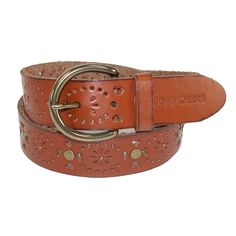 A classic bridle belt with John Deere style. One piece leather has raw edges for a casual look and is soft and supple. Cut out design patterns are spaced with antique brass finish nailheads. The rounded buckle is also antique brass finish, and is removable so you can replace it with your own favorite buckle.