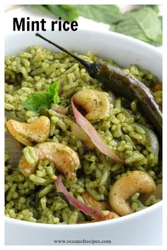 Mint rice (Pudina rice) Flavored Rice, Fresh Mint Leaves, Chutney, Indian Food Recipes, Lime, Lunch, Dishes, Chicken, Lima
