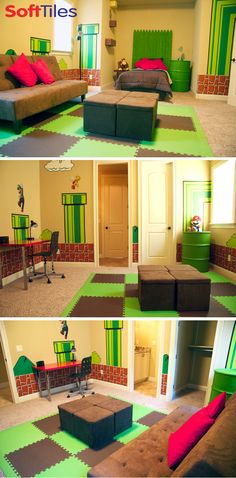 mario themed bedroom playroom using softtiles 2x2 foam mats in lime