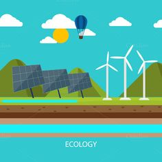 Check out Renewable energy like hydro, solar by robuart on Creative Market