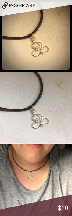 """Wire Namaste Necklace Little Yogini is lotus pose 🙏🏼 silver plated copper wire. Handmade.  17"""" to 18"""" brown faux suede cord. Birds N the Beeads 🐝 Jewelry Necklaces"""