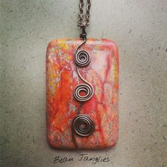 Orange Jasper Wire Wrapped Spiral Trio Pendant EUR Available from Beau Janglies on Etsy Antique Copper, Copper Wire, Jasper Stone, In Ancient Times, Wire Wrapped Jewelry, Wire Wrapping, Spirals, Orange, Beads