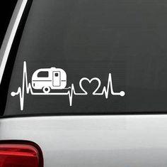 Camper Travel Trailer Heartbeat Decal Sticker - Factory - 43