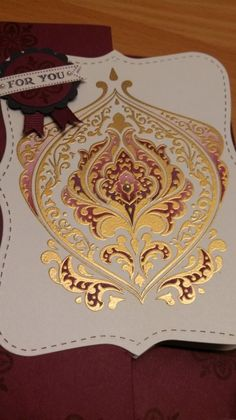 For You - The stamp is embossed in gold & water coloured with Rich RazzleBerry & Elegant Eggplant.   Beautifully Baroque, Bitty Banners, Hello Lovely, Top Note Die