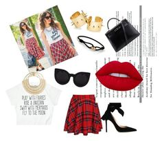 """""""Mad about plaid"""" by hangerson on Polyvore featuring Gianvito Rossi, Hermès, Rosantica, Lime Crime and Cartier"""
