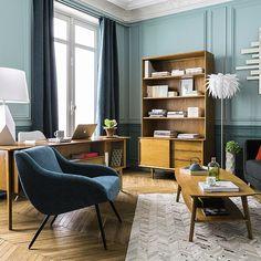 Deco Trendy • A T E L I E R •salon bureau tendance vintage Maisons du Monde 2016 Portobello chêne design fauteuil pétrole haussmanien