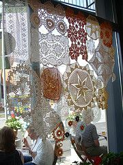 * doilies window treatment *  I have a lot of pretty doilies and now I know what to do with them