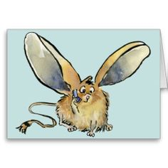 Shop Cartoon Long Eared Jerboa Card created by zooogle. Thank You Greeting Cards, Thank You Greetings, Custom Thank You Cards, Long Eared Jerboa, Paper Texture, Rooster, Moose Art, Cartoon, Prints