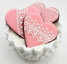 Lace Iceing Cookies in the Shape of a Heart