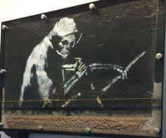 Banksy art in MShed Museum, Bristol, UK