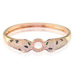 Effy Signature® Diamond Panther Bangle in 14k Rose Gold