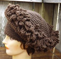 Crochet Brown Church Hat