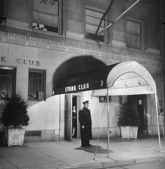 """eccentricks: """" A uniformed doorman standing at the entrance of the famous Stork Club, New York, """" Hope Diamond, Party Co, Live Jazz, All We Know, Joe Dimaggio, The Spectator, Humphrey Bogart, Stork, Grace Kelly"""