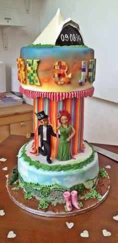 Glastonbury themed wedding cake.  www.facebook.com/Aboutcake.co.uk