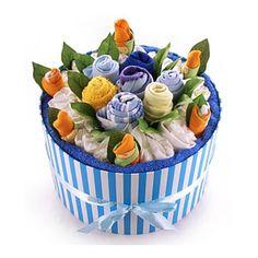 Baby Boy Flower Arrangements | Flower like arrangement of baby socks, face cloths, baby vests, and ...