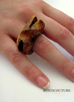 Avant garde Rocker Style HandCarved Oak Wood Ring by rusticouture