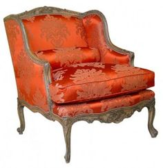 Brocade French Bergere  Chair By Cote France