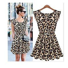 yuntuo®women sexede runde krave leopard-print kjole – DKK kr. 116